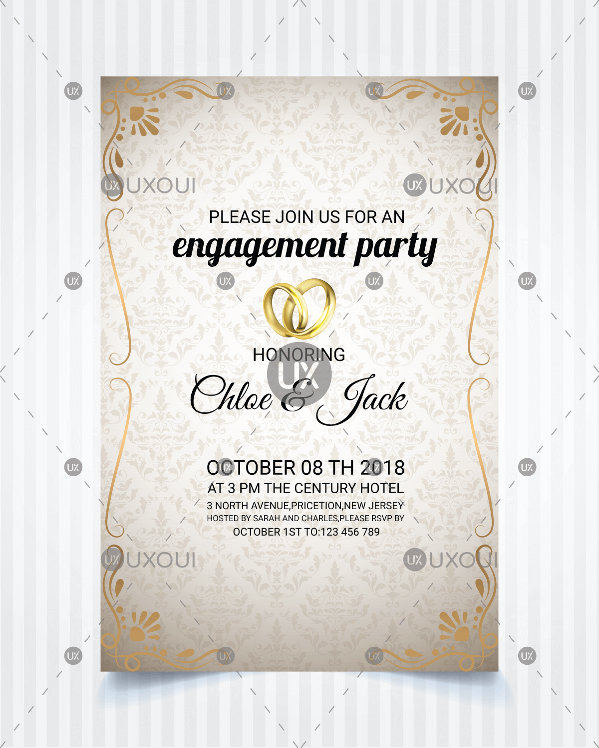 Vintage style wedding engagement party invitation card template ...