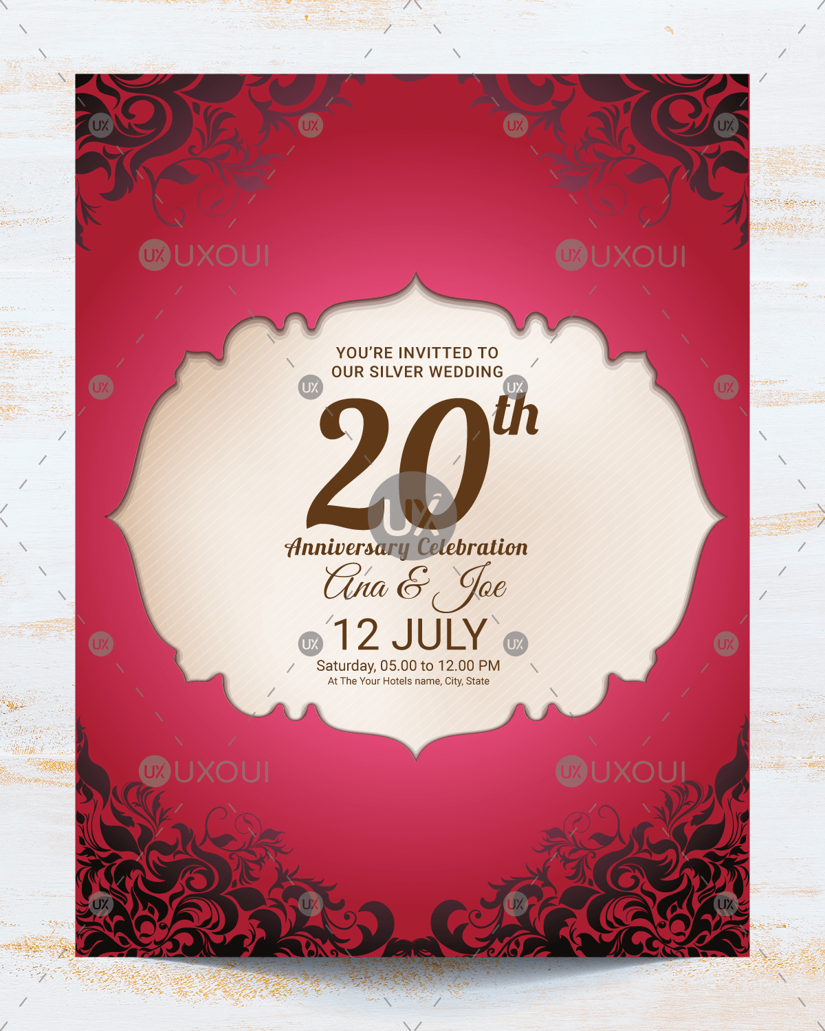 Vintage wedding anniversary invitation card template design vector ...
