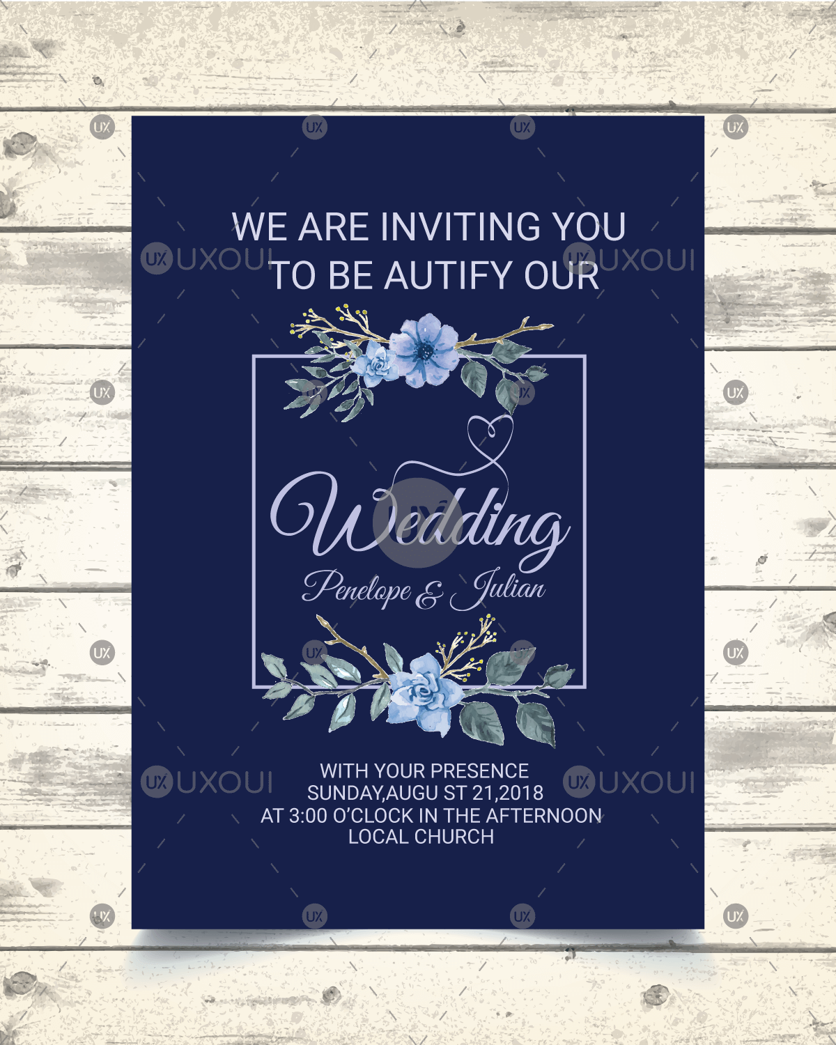 Vintage wedding invitation card design template with floral style ...