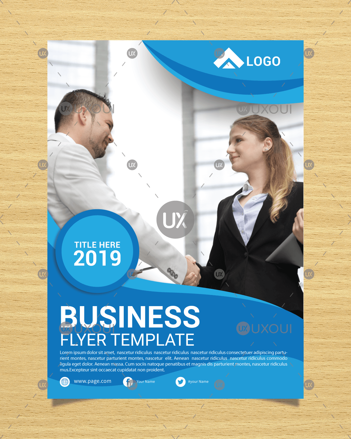 free blue wavy corporate business flyer template design vector with