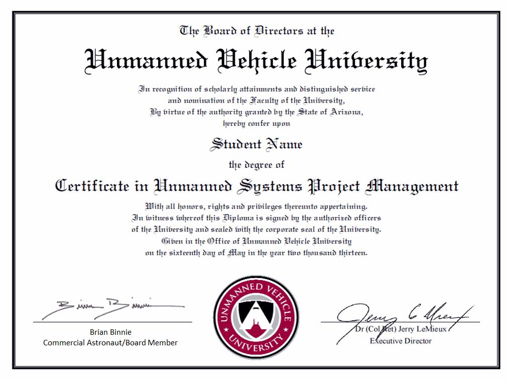 Professional Certificate Unmanned Vehicle University