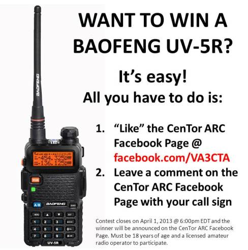 CenTor Central Toronto Amateur Radio Club ham Baofeng UV-5R Giveaway contest dual band HT VA3XPR