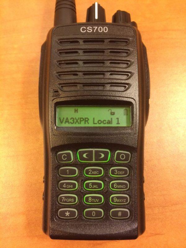 Connect System, CS700, UHF, DMR, digital mobile radio, HT, portable, radio, ham radio, amateur radio, VA3XPR, review, keypad, display, LCD, front, CSI