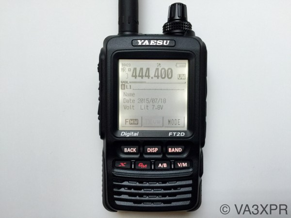 Yaesu FT2DR digital dual-band portable radio showing the large touch screen display.