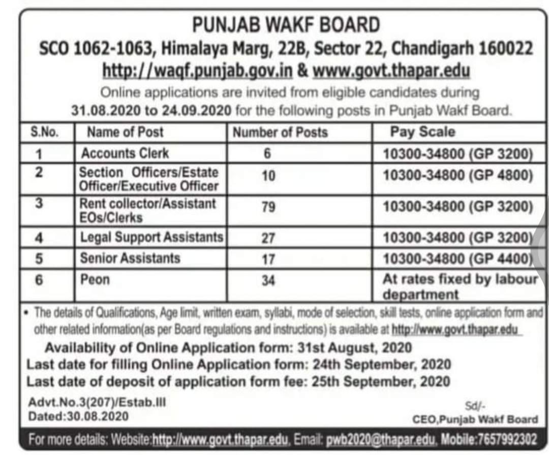 punjab wakf board recruitment 2020