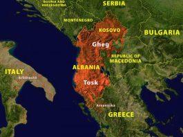lingua albanese, distribuzione mappa