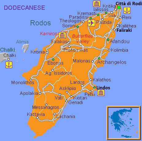 Mappa turistica dell'isola di Rodi
