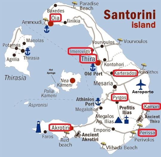 Mappa delle migliori zone dove alloggiare a Santorini