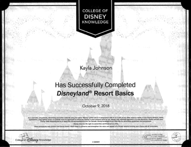 Kayla Johnson Disneyland Resort Cert