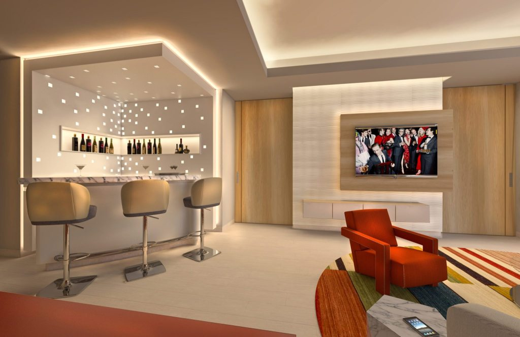 Master Suite living area and bar