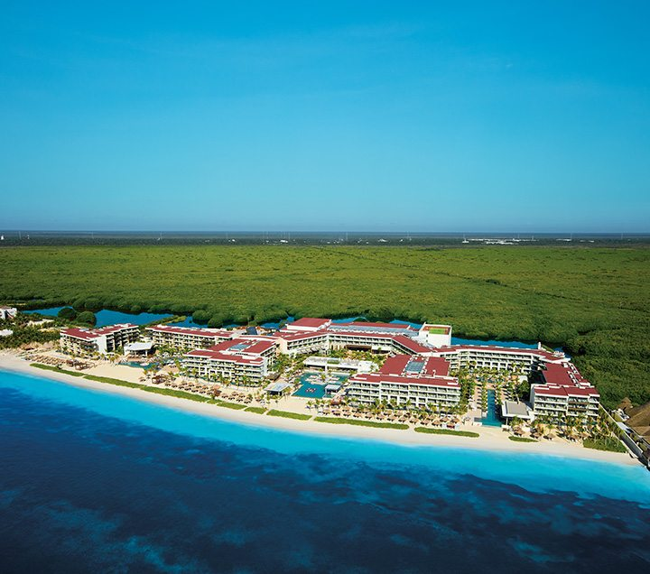 Aerial shot of the Breathless Riviera Cancun Resort & Spa.