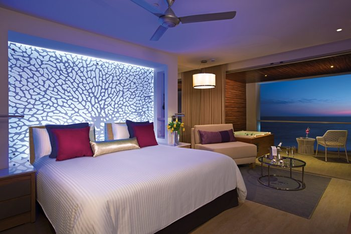 xhale club Junior Suite Ocean Front at night.