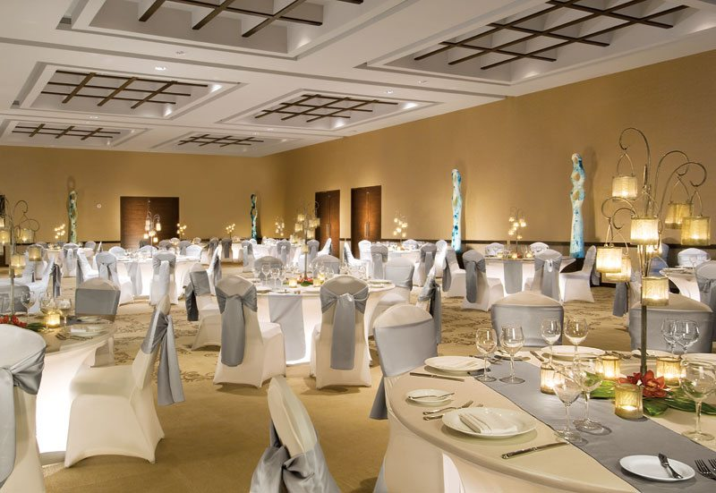 The chic ballroom at Secrets Silversands ideal for small and large gatherings, business events and nightly entertainment shows.