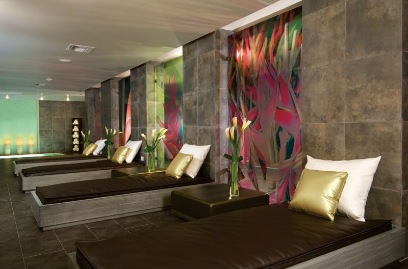 The elegantly-stated relaxation room at Secrets Spa by Pevonia.