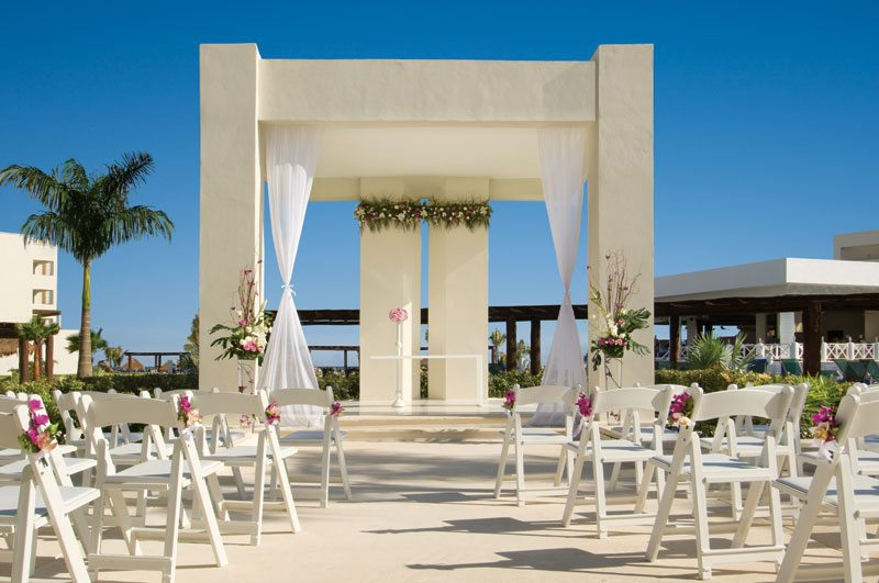 The wedding gazebo at Secrets Silversands offering picturesque surroundings.
