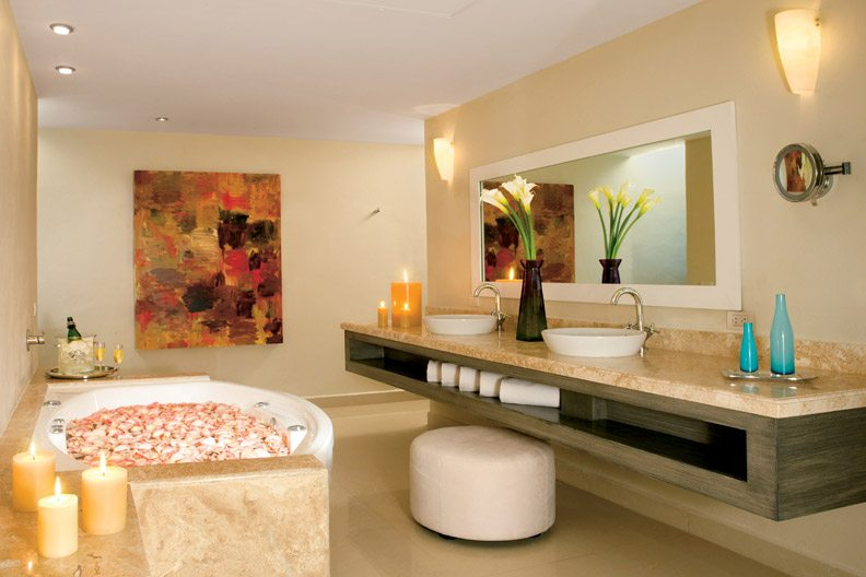 Full marble bathroom in the Master Suite featuring Jacuzzi for two, double vanity sink and luxurious personal amenities.