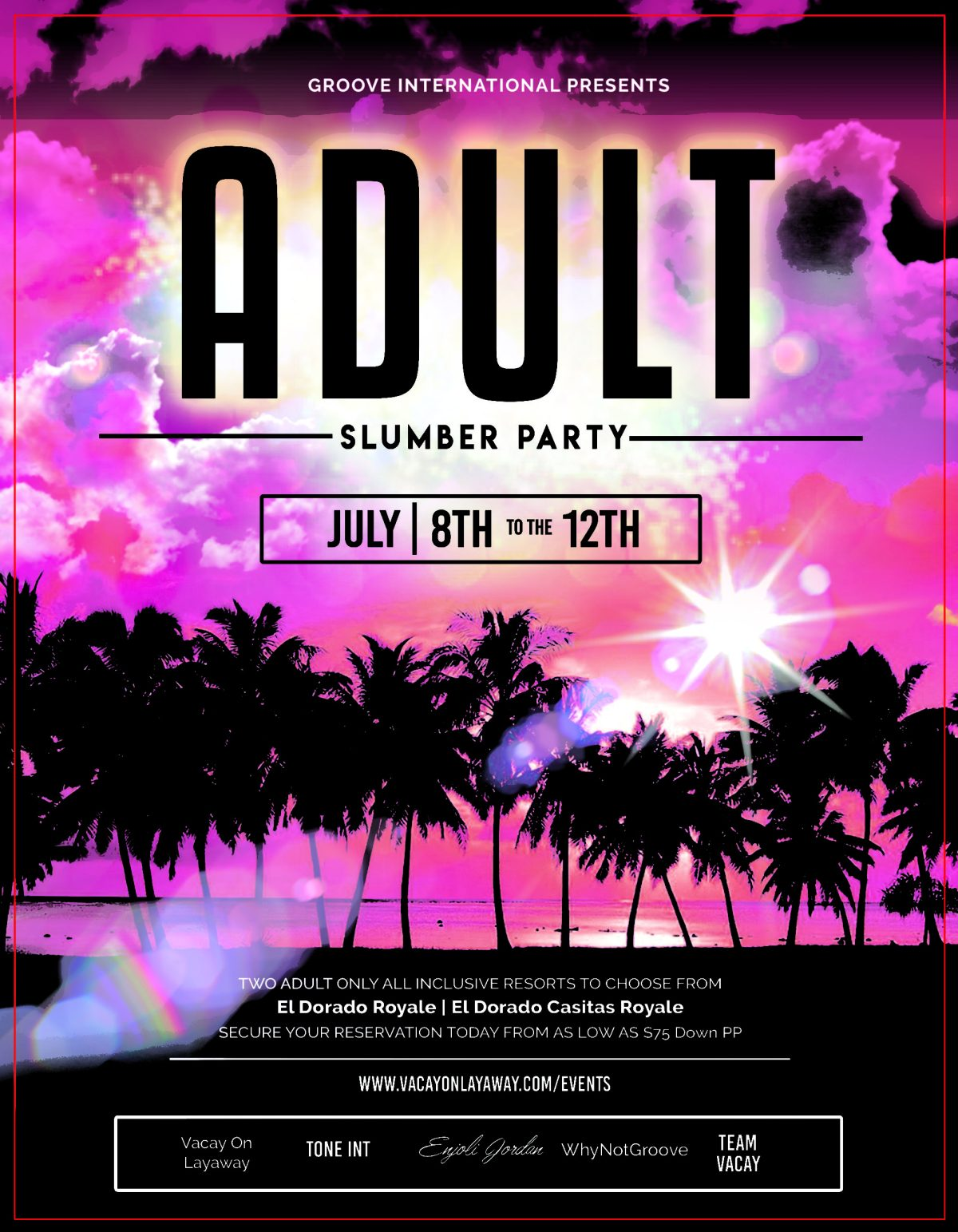Adult Slumber Party Flyer