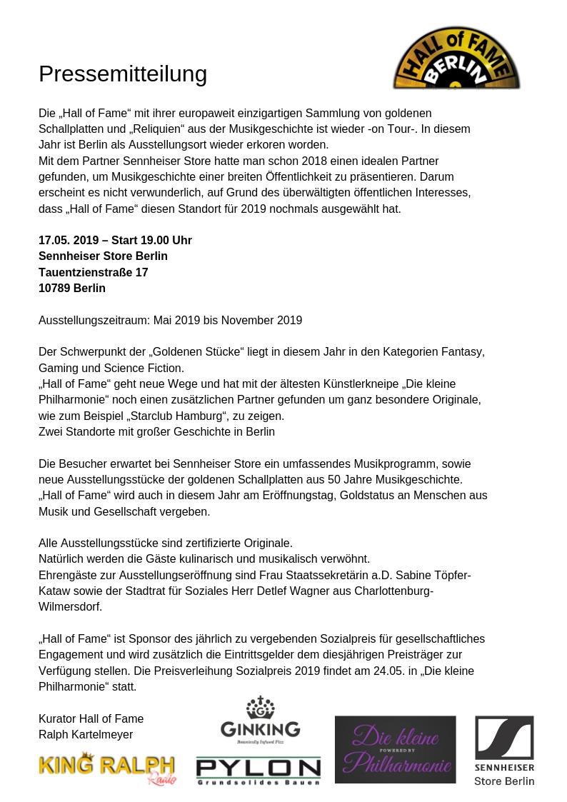 """Hall of Fame on Tour Europas größte Ausstellung von goldenen Schallplatten und""""Reliquien"""" der Musikgeschichte"""
