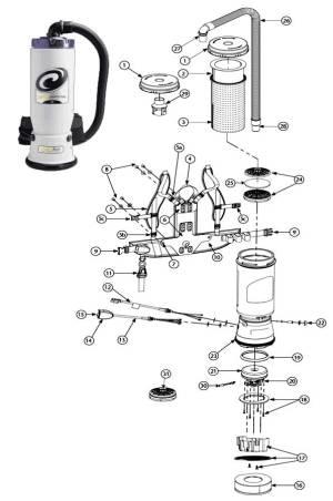 Proteam Super CoachVac Backpack Vacuum Cleaner Parts
