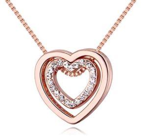 Gluckliy Crystal Double Heart Pendant Necklace