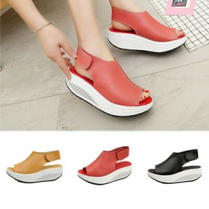 Summer Women Platform Wedge Heel Sandals Leather Shoes - Ankle Strap Beach Sandals