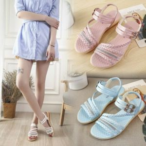 High Quality Summer Women Open Toe Sandals - Ankle Strap Casual Flats Shoes Eur 35-39