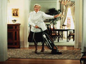 Mrs Doubtfire dancing and cleaning