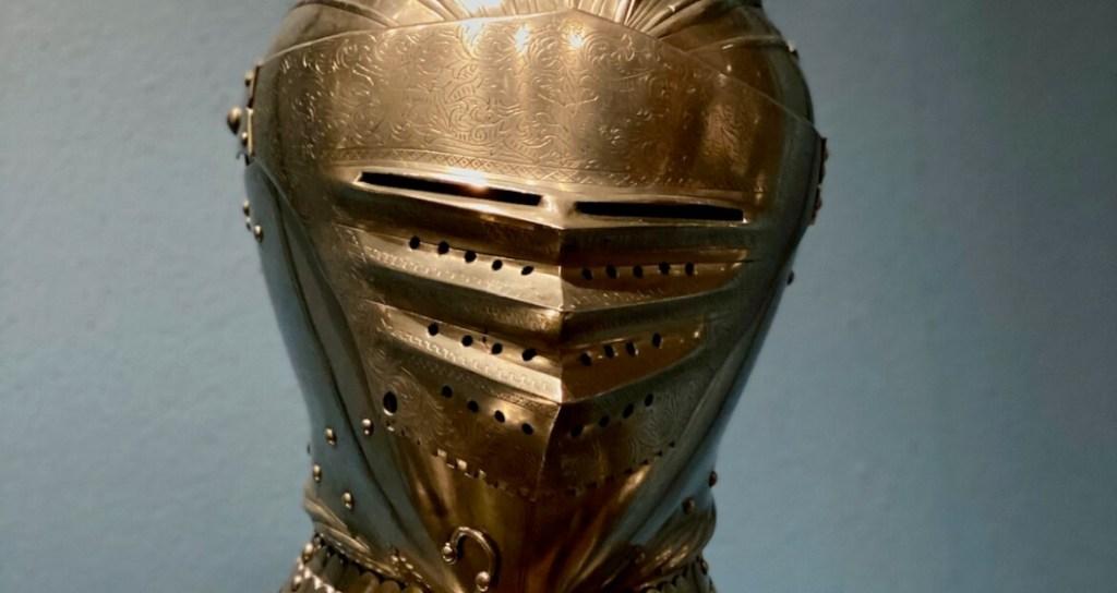 Het vizier in een helm van een ridder
