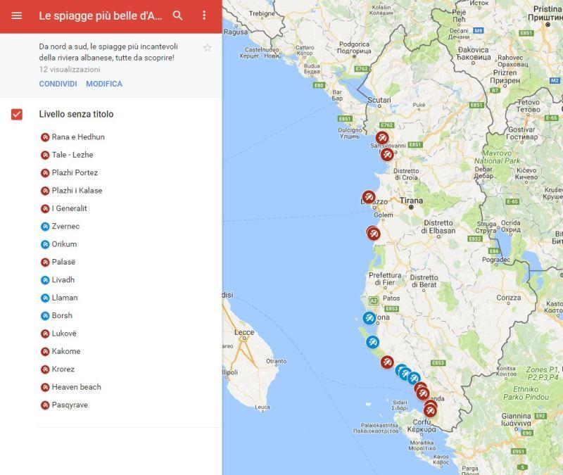 Vado in Albania mappa spiagge