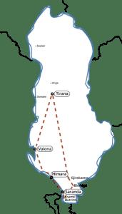 Tour della riviera Mappa albania