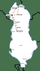Mappa Albania tour del nord