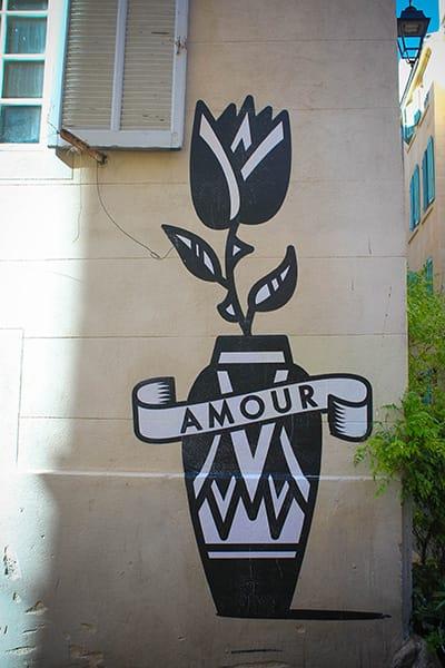 Street art fleur panier Marseille