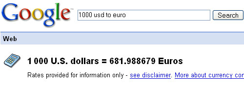 Currency US Dollars to Euros