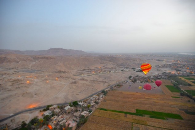 Sunrise hot air balloon ride over the Valley of the Kings
