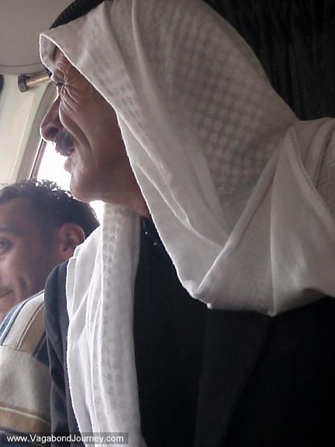 arab man in minibus in jordan