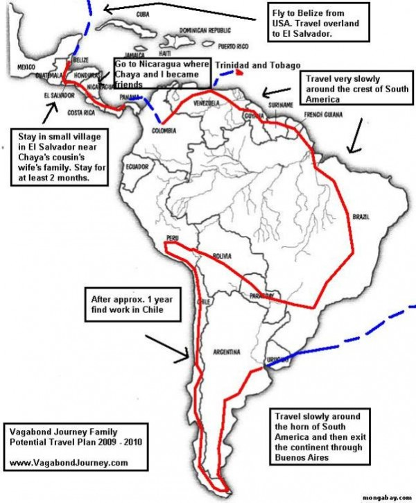 Traveler dream map of South America