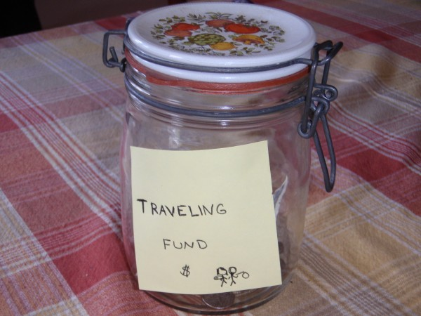Acively save pocket change for travel