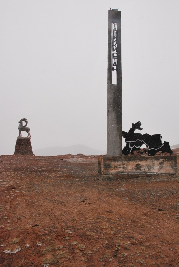 Two statues mark the near the Tajikstan border. A Marco Polo sheep