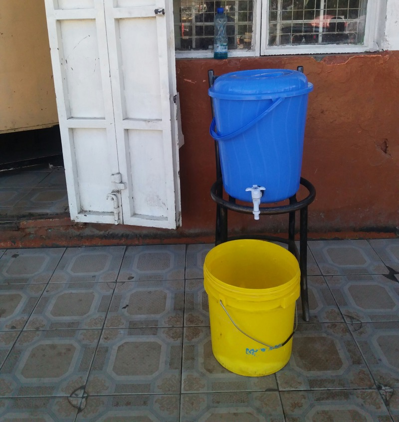 Hand washing station in Kenya