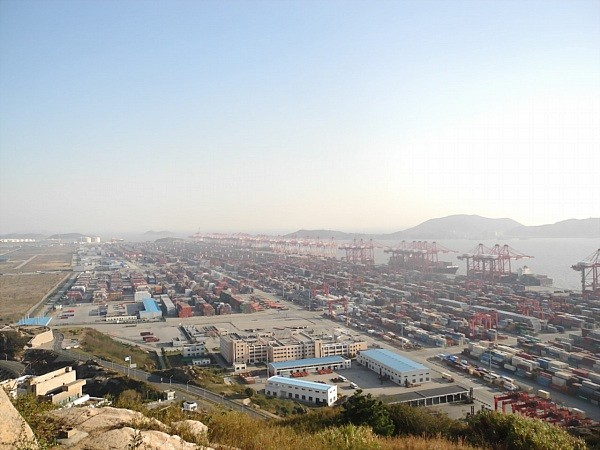The Yangshan Deep Water Port was built on soil that was dredged and dumped on a string of islands.