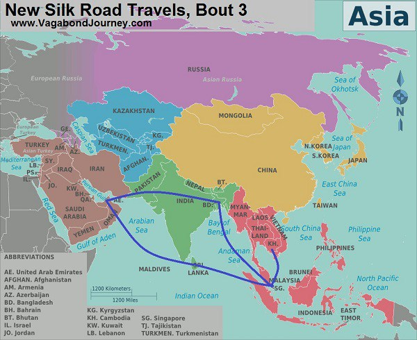 My route of travel over the past two months on the 21st Century Maritime Silk Road.