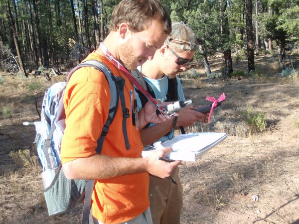Archaeologists navigating with GPS units