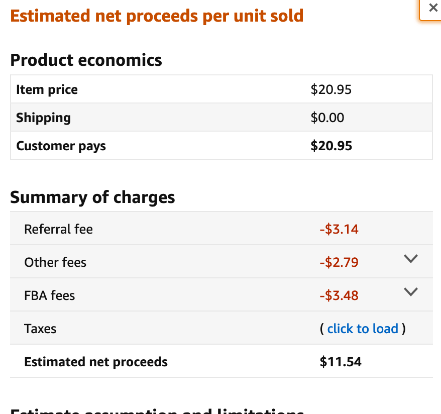 Amazon FBA price