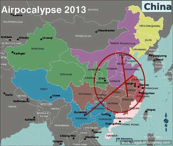 air pollution map China