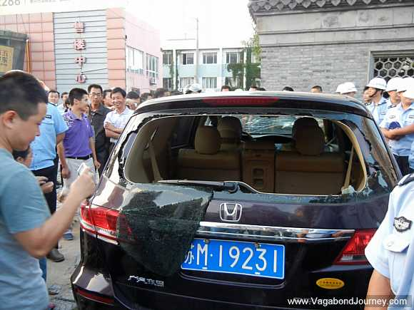 Japanese car smashed in China