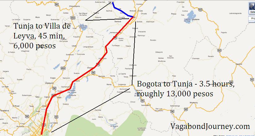 Travel From Bogota To Villa De Leyva Colombia - Tunja map