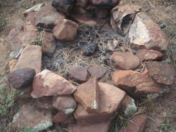 Camp fire ring at a primitive site in Arizona