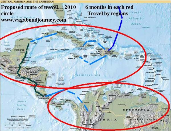 Caribbean Central America potential routes of travel