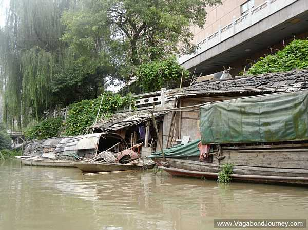 Shacks built on a canal