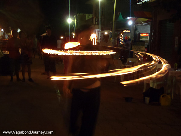 Hula Hoop fire dancing
